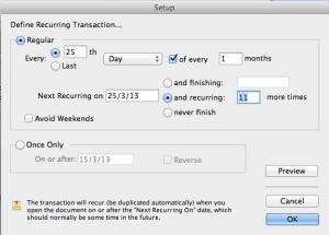 Recurring transaction