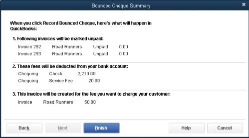 Bounced Cheque Summary