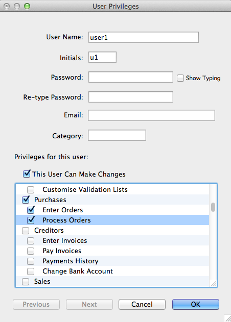 MoneyWorks - User Privileges
