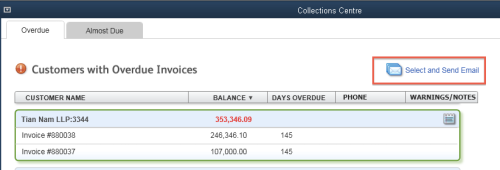 QuickBooks Collections Centre