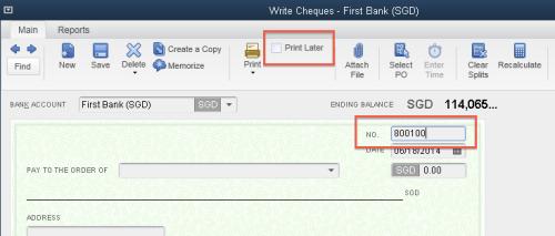 QuickBooks - Cheque Number