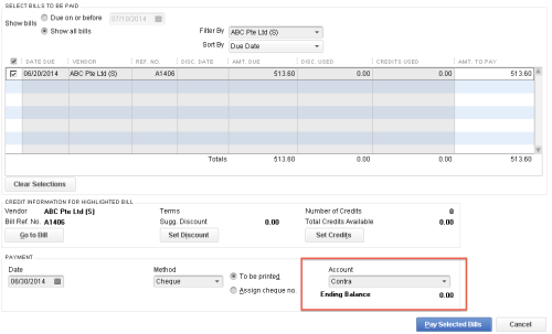 QuickBooks - Contra Bill Payment