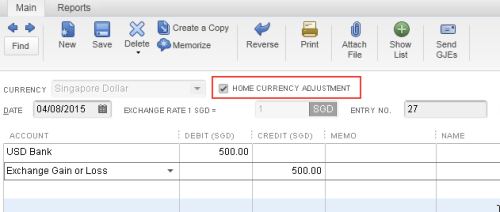 Home Currency Adjustment Journal