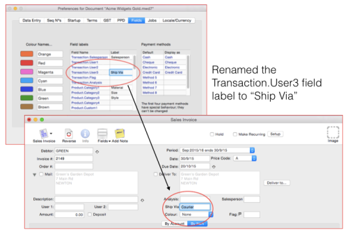 MoneyWorks transaction user field