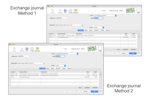 MoneyWorks exchange journal