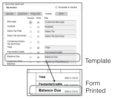 The Balance Due in QuickBooks accounting software